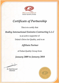 Dubai Quality Group - Certificate of Partnership